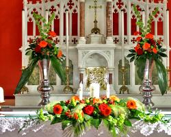 Altar Arrangement with Silver Vases - C71
