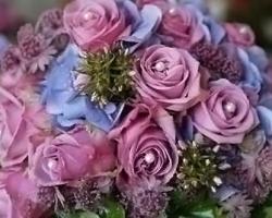 Blue & Pink Wedding Bouquet - B81