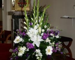 Purple & White Church Wedding Flowers - C78