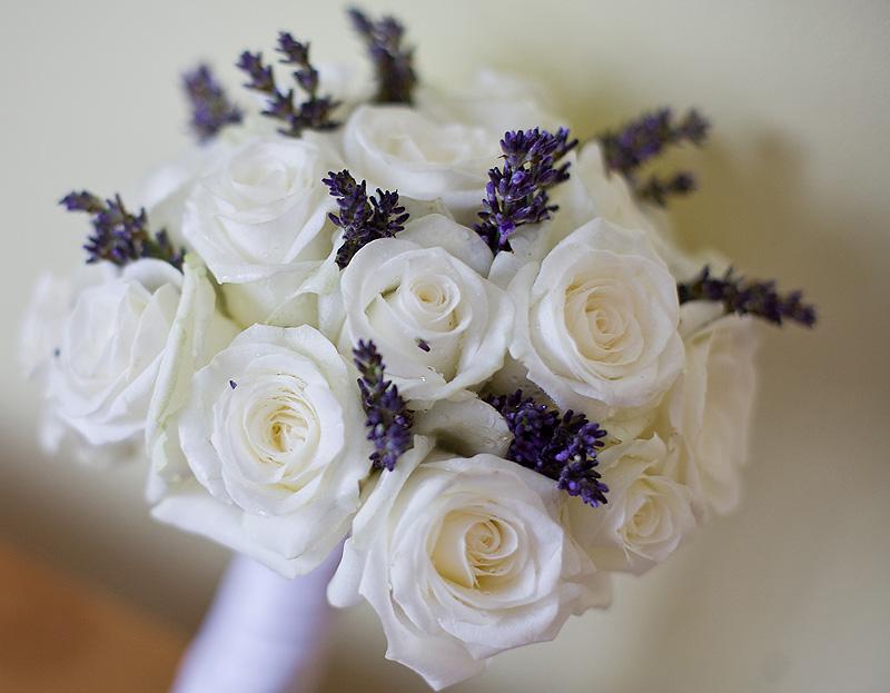 White Purple Wedding Bouquet