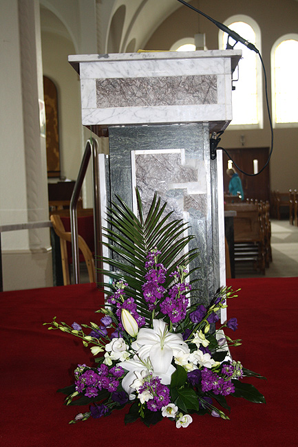 Church and ceremony flowers wedding flowers galway white purple pulpit flowers c92 mightylinksfo