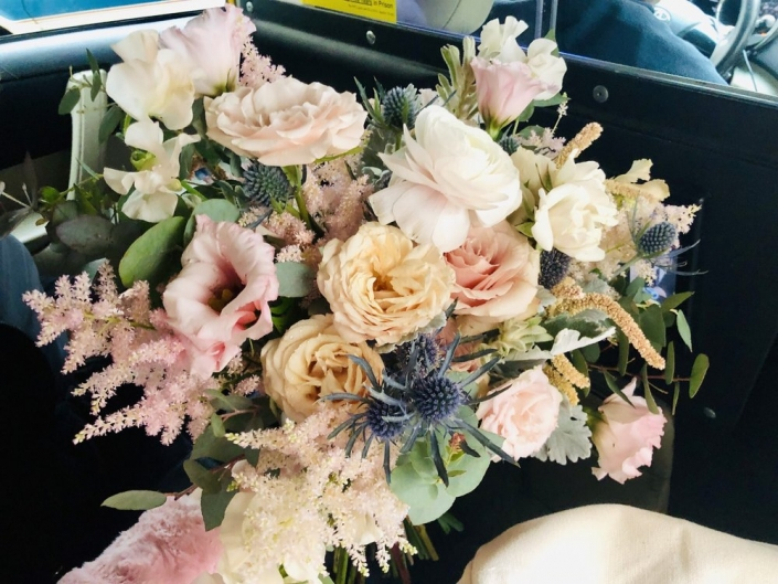 Bouquet Pail Pink and Gray