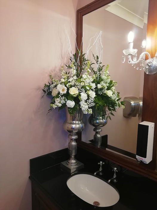 Silver Vase with Arrangement (D307)